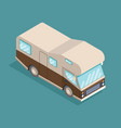 isometric camping car travelling advertisement vector image vector image