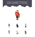 isometric person set of male investor medic and vector image vector image