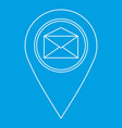 map pin with envelope sign icon outline style vector image vector image