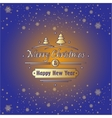 Merry Christmas and Happy New Year with gold vector image vector image