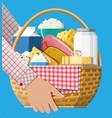 milk products set in wicker basket vector image
