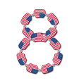 Number 8 made of USA flags in form of candies vector image vector image