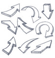 outline arrows set hand drawn sketch vector image