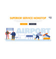 passengers in airport website landing page people vector image vector image