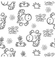 pattern giraffe and flower hand draw vector image