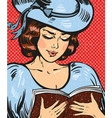 pop art of young woman reading vector image vector image