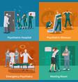 psychiatric illnesses concept icons set vector image vector image