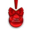 Realistic Christmas Red Ball with Satin Bow Ribbon vector image