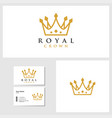 royal crown logo template with business card vector image