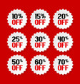 sale tags from 10 to 70 percent vector image