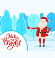 santa in winter park merry and bright vector image vector image