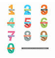 set flat design numbers 0-9 with ribbons vector image vector image