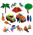 set objects on theme summer holidays vector image