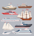 set of different vessels sea boats and other big vector image