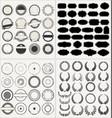 set of empty retro vintage frames laurels badges vector image vector image