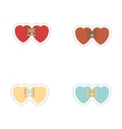 Set of paper stickers on white background hearts vector image vector image