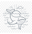 silhouette of a whale in the sea vector image vector image