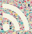 Social media RSS icon texture vector image vector image