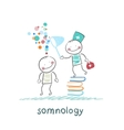 somnology standing on a pile of books and dreams vector image vector image