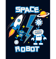 space robot with rocket planet embroidery vector image vector image