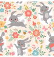Spring rabbits pattern vector image