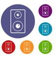 subwoofer icons set vector image vector image