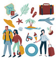 summer vacation traveling items couple and woman vector image vector image