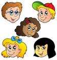 various children faces collection vector image