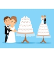 Wedding cake with bride and groom vector image vector image