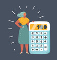 woman with a big calculator vector image vector image