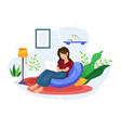 women work and relax at home vector image vector image