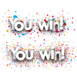 You win paper banners vector image vector image
