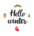 hello winter beautiful poster with vector image