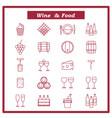 set of wine icons with vector image