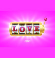 love word on gold slot machine vector image