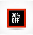 70 percen off sale label symbol in square shape vector image