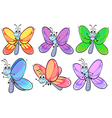 A group of colourful butterflies vector image vector image