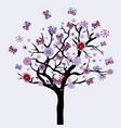 abstract floral tree with flowers and butterflies vector image vector image