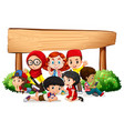 banner template design with many kids and wooden vector image vector image