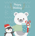 bear and penguin celebration happy christmas card vector image