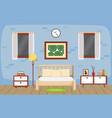bedroom interior sleeping room flat design vector image