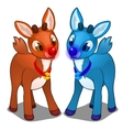 Brown and blue magic young fawns isolated vector image