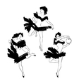 Cabaret dancer silhouettes set vector image