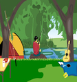 Camping day celebration river fishing with a tent vector image vector image