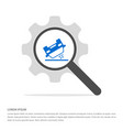 car crash accident icon search glass with gear vector image