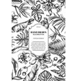 card design with black and white monstera banana vector image vector image