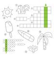 crossword for children theme summer vector image vector image