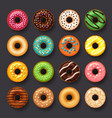 donut icon set vector image vector image