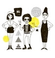 Doodle women and geometric elements vector image vector image