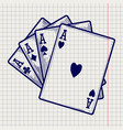four ace cards on notebook page vector image vector image